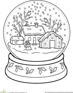 301x383 Snow Globe Coloring Page Worksheets, Globe And Snow