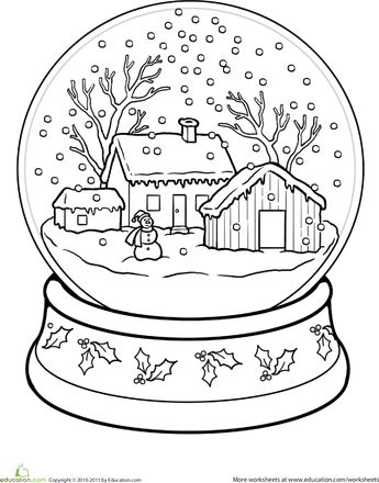 345x440 Snow Globe Coloring Pages Snow Globe Coloring Page Snow Globe
