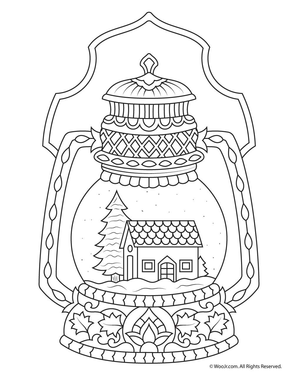 1000x1294 Winter Snow Globe Adult Coloring Page