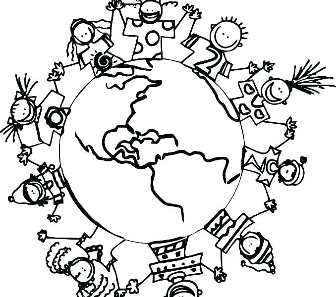 678x600 Globe Coloring Pages