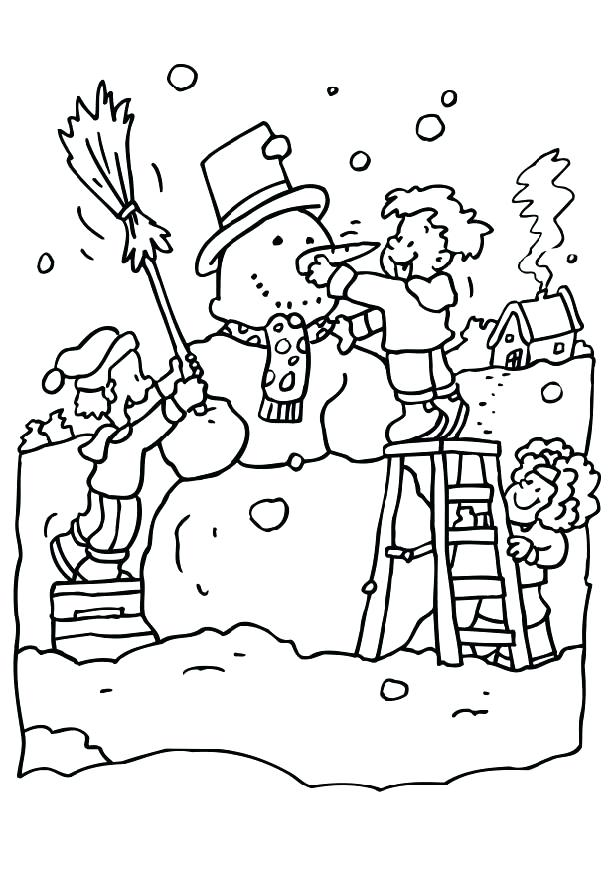 616x872 Colossal Snow Coloring Sheets Playing With In Winter Pages