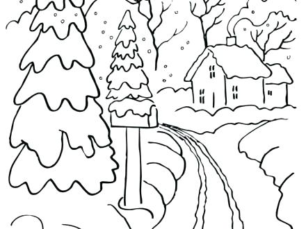 440x330 Free Winter Scene Coloring Pages For Kids Gallery