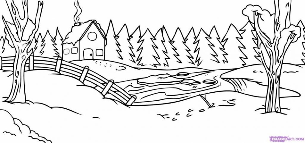 1024x483 Snow Scene Coloring Pages