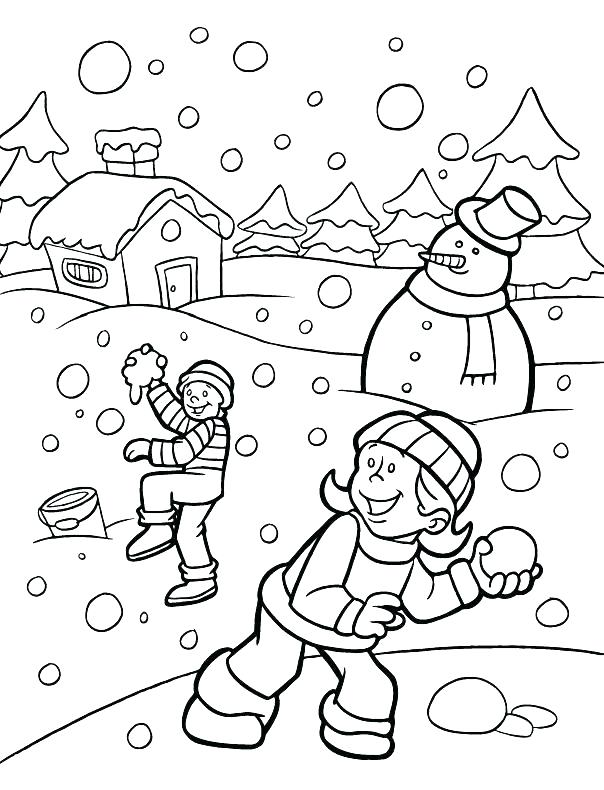 604x790 Snow Scene Coloring Pages Winter Coloring Pages The Train