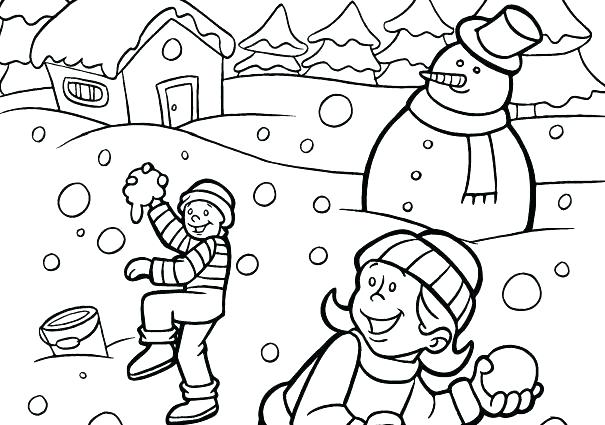 605x425 Winter Animals Color Pages Scenes Coloring Page Printable Scene