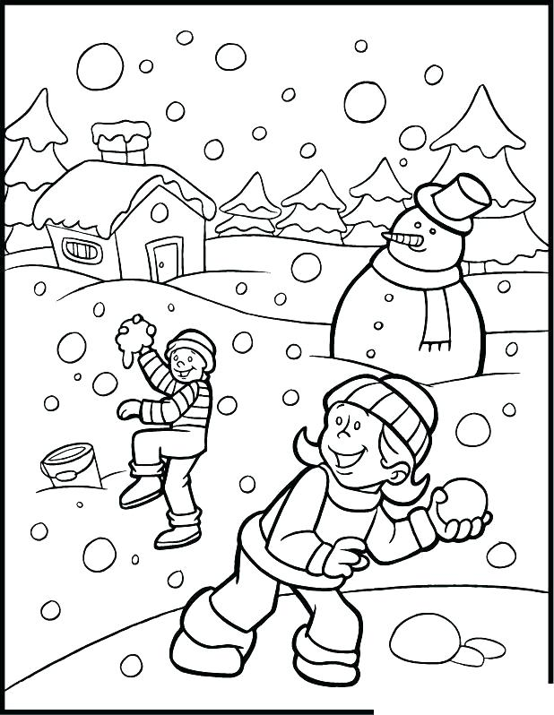618x798 Winter Coloring Pages Winter Scene Coloring Pages Winter Snow