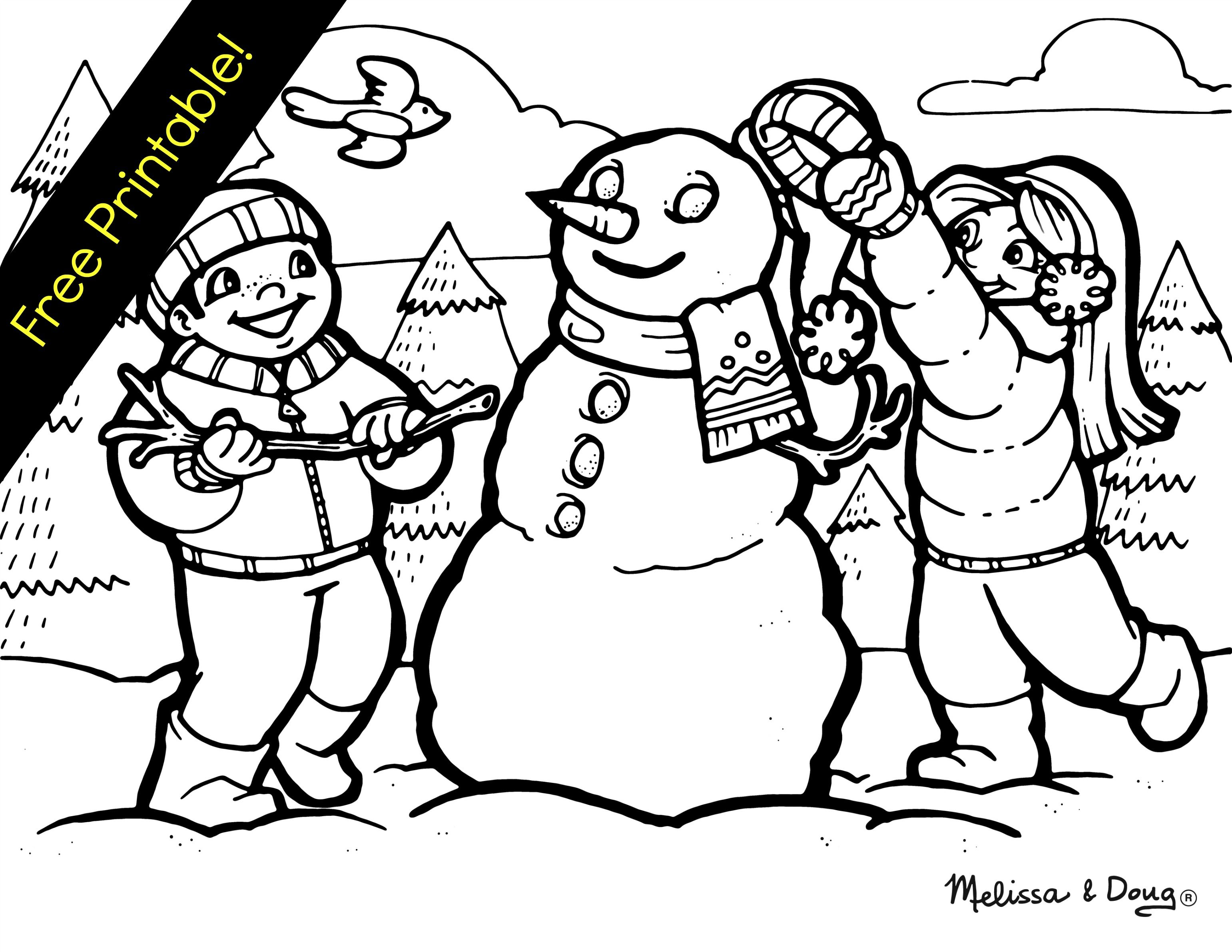 3082x2382 Winter Themed Coloring Page Snowman Pumpkin Patch Care