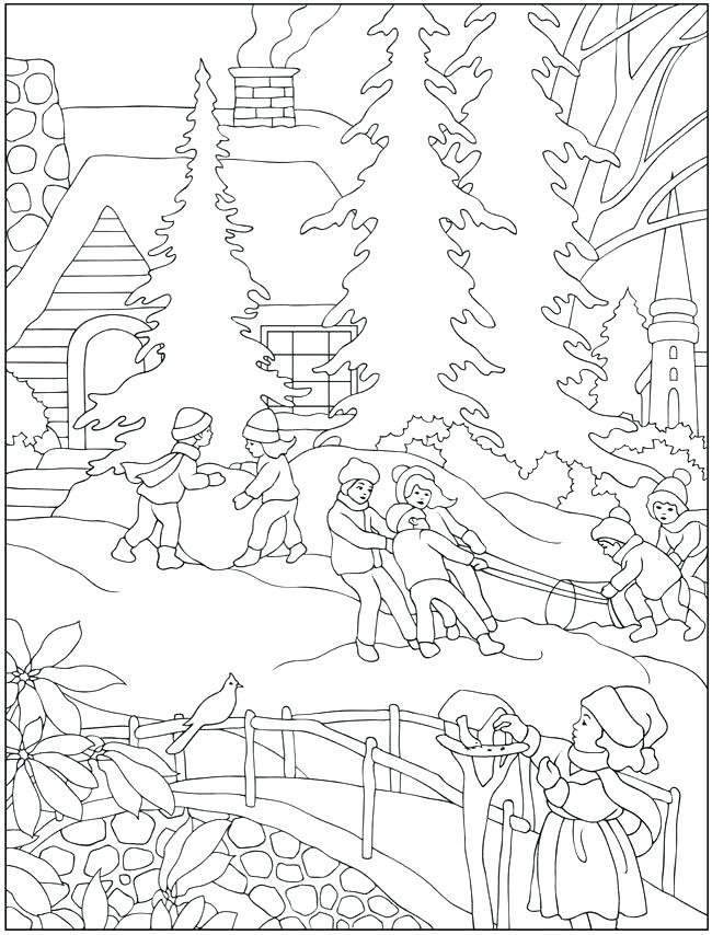 650x854 Winter Scene Coloring Pages Murs