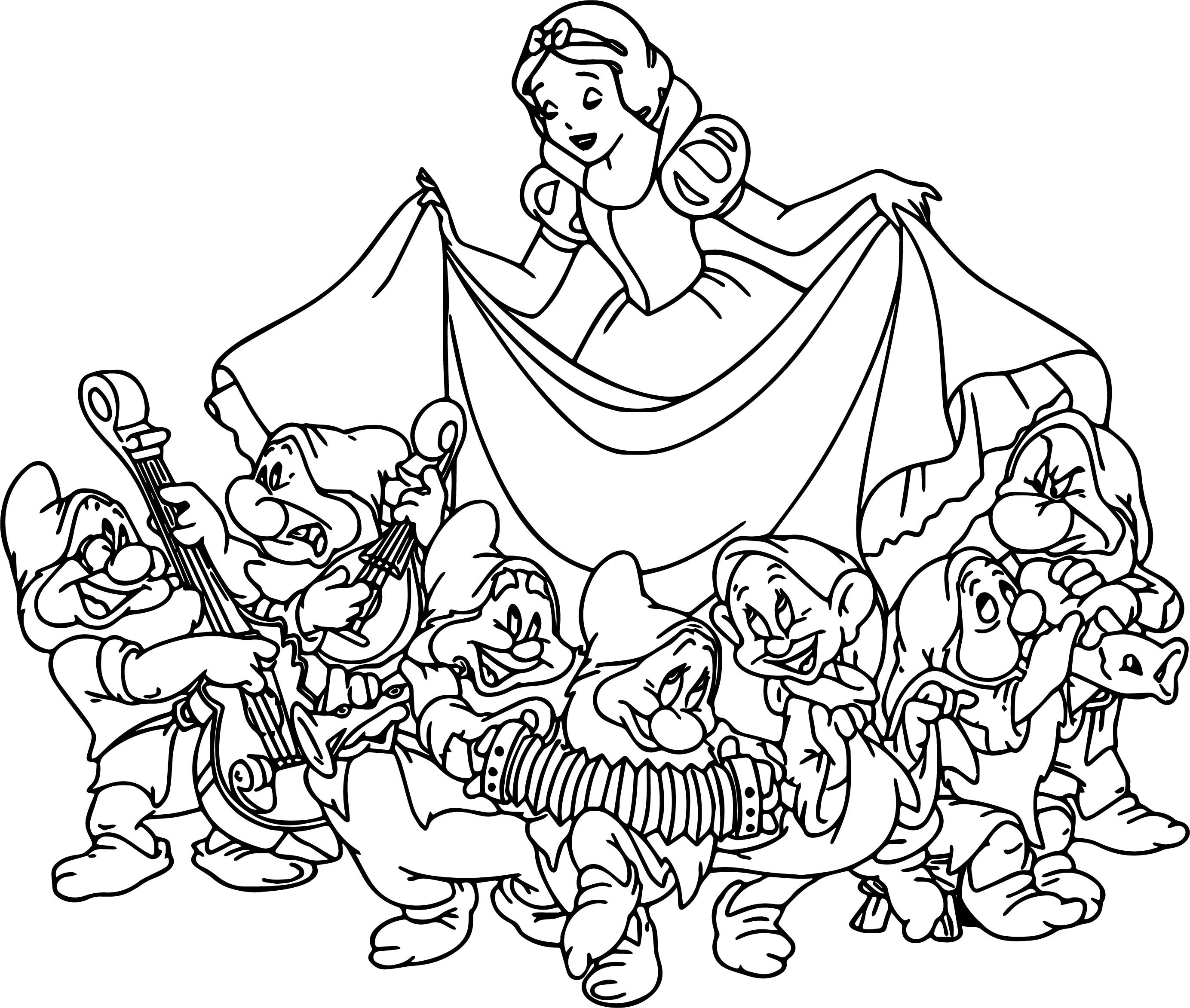 Snow White And The Seven Dwarfs Coloring Pages at GetDrawings com