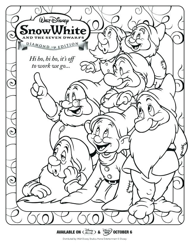 640x828 Seven Dwarfs Coloring Pages