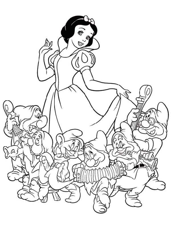 600x811 Snow White The Seven Dwarfs Coloring Pages Snow White