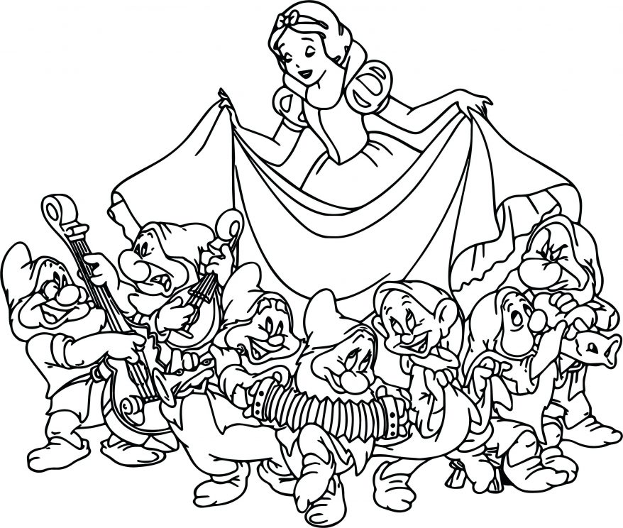 878x744 Snow White The Seven Dwarfs Coloring Page Mesmerizing Pages