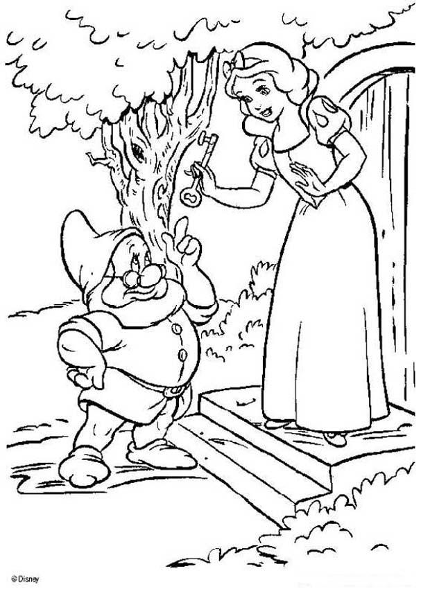 607x850 Snow White With The Dwarfs' House Key Coloring Pages