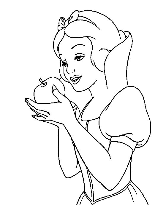 522x692 Snow White Hold Apples Snow White Coloring Pages