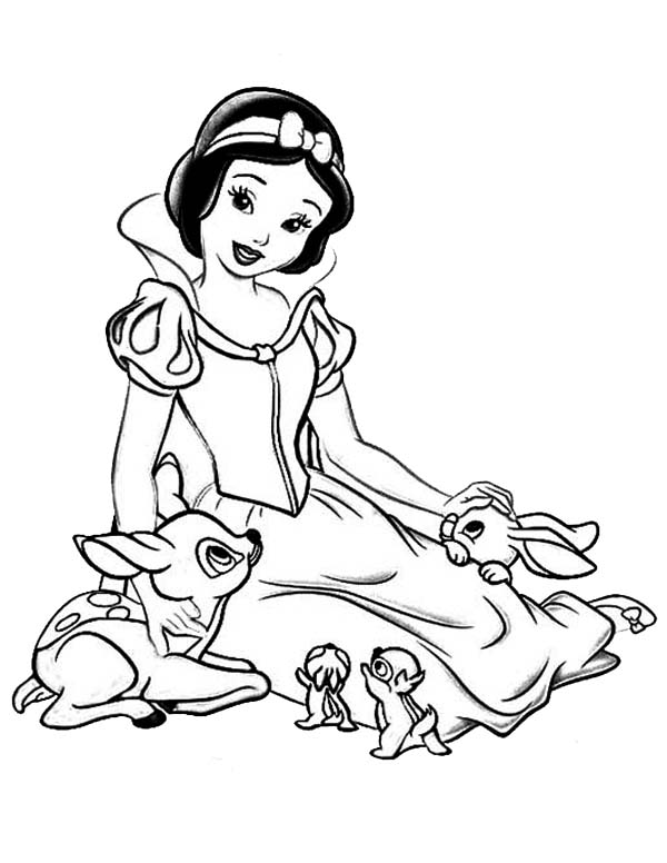600x776 Snow White Talking To Her Jungle Friends Coloring Page Color Luna