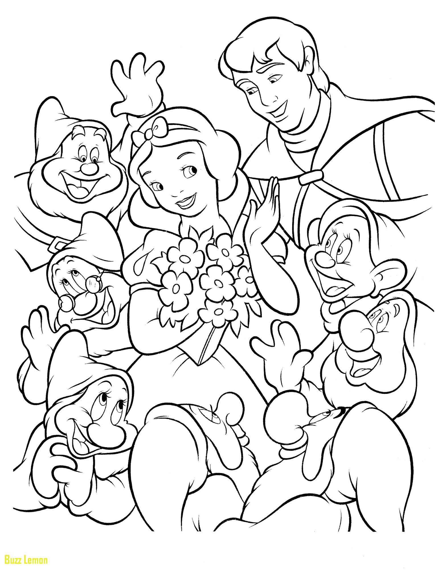 Snow White Dwarfs Coloring Pages