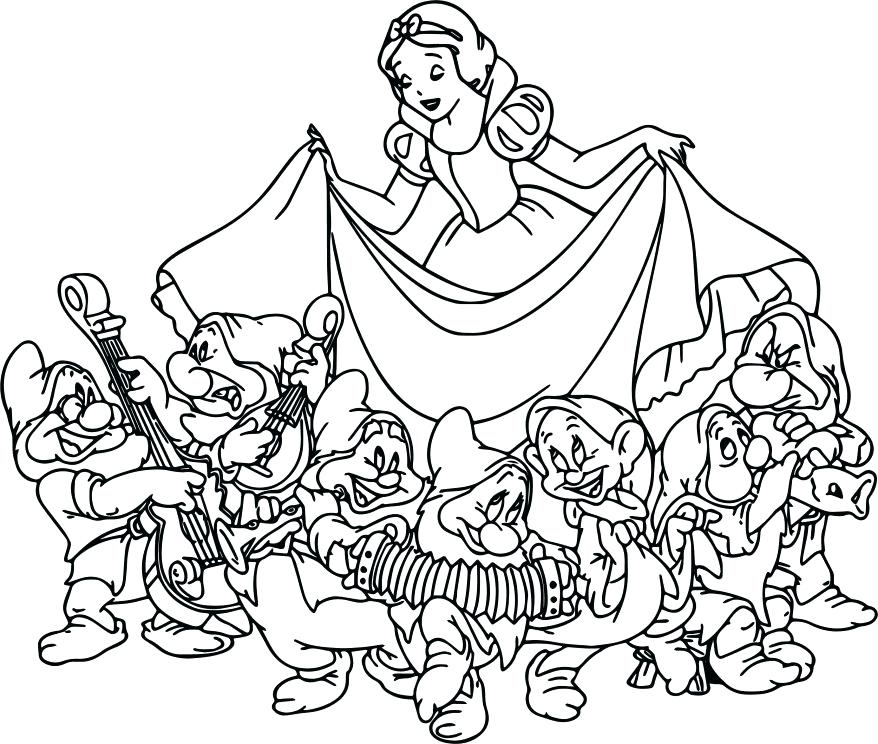 878x744 Interesting Seven Dwarfs Coloring Pages Snow White The Seven