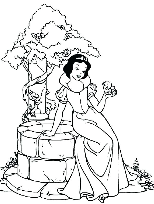 600x794 Snow White And The Seven Dwarfs Coloring Pages Well Coloring Page