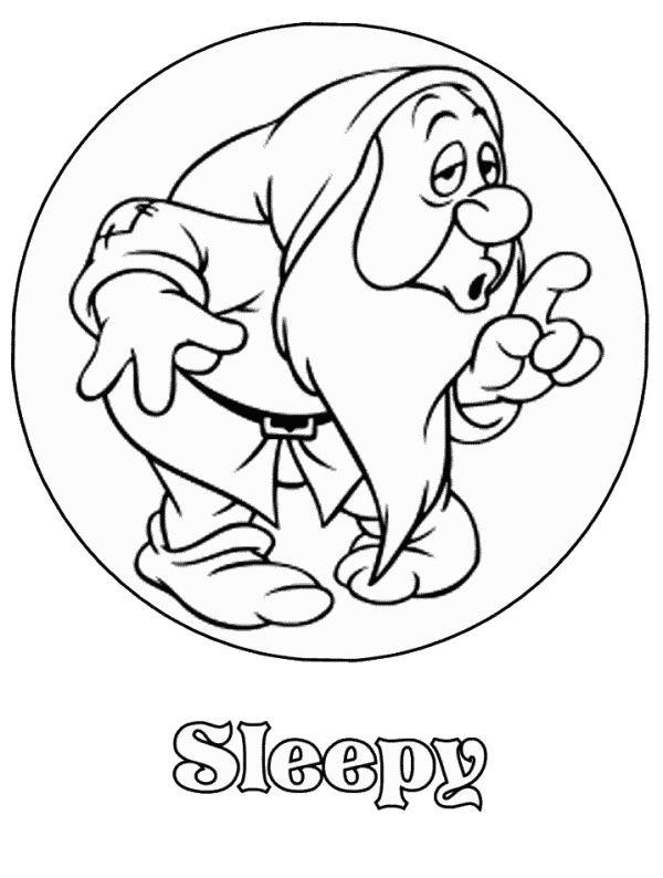 600x794 Snow White Dwarfs Coloring Pages Beautiful Sleepy Snow White