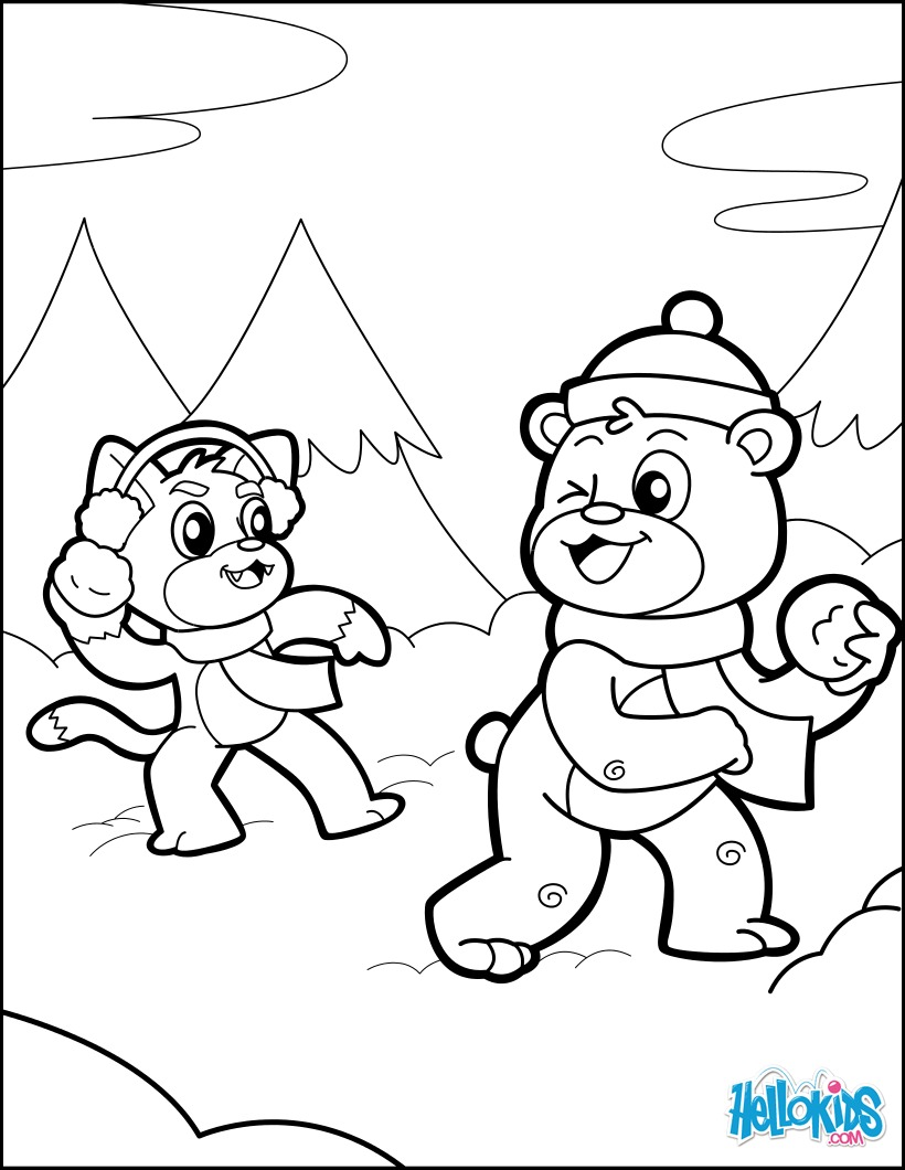 820x1060 Dog And Bear Having A Snowball Fight Coloring Pages
