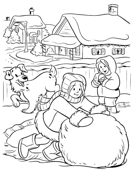540x700 Make A Big Snowball Winter Coloring Page Winter