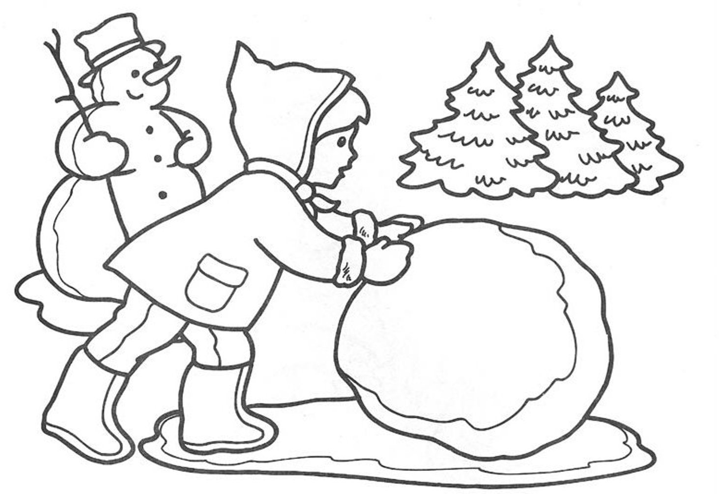 1463x1006 Making Snowball Winter Coloring Pages For Kids Winter Coloring