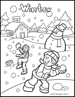 262x338 Printable Kid Snowball Fight Game Coloring Pages