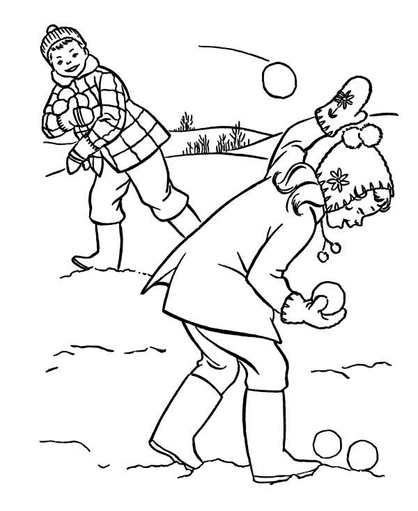 600x734 A Snowball Fight With Friends During Winter Coloring Page