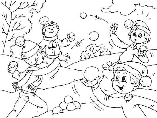533x400 Snowball Fight! Have Fun Coloring Online Or Print Just One