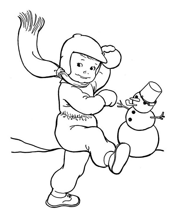 600x738 Snowball Fight On Winter Outdoor Activity Coloring Page