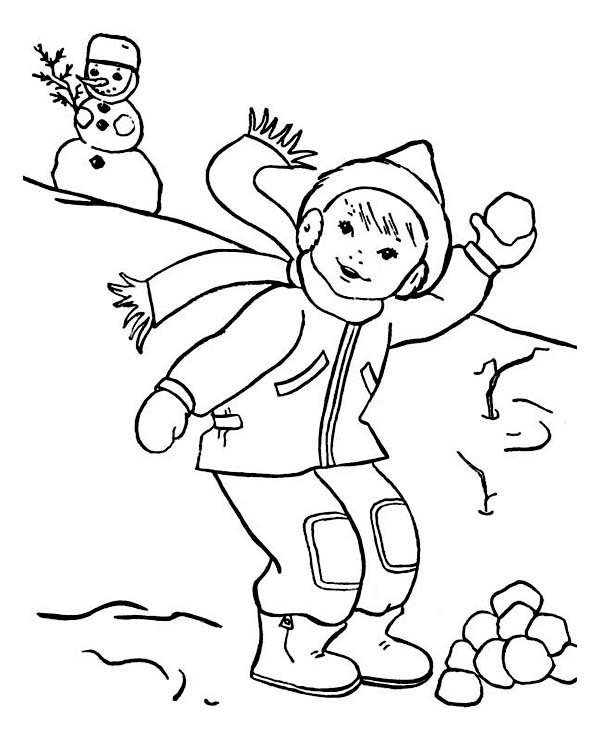 600x738 Throwing Snowball On Snowball Fight During Winter Season Coloring