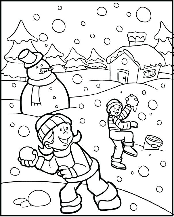 605x754 Winter Coloring Pages Printable Plus Snowball Fight Winter