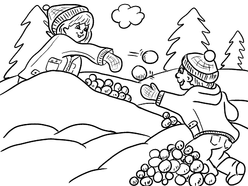 492x369 Kids Having A Snowball Fight Free Coloring Page Iarna