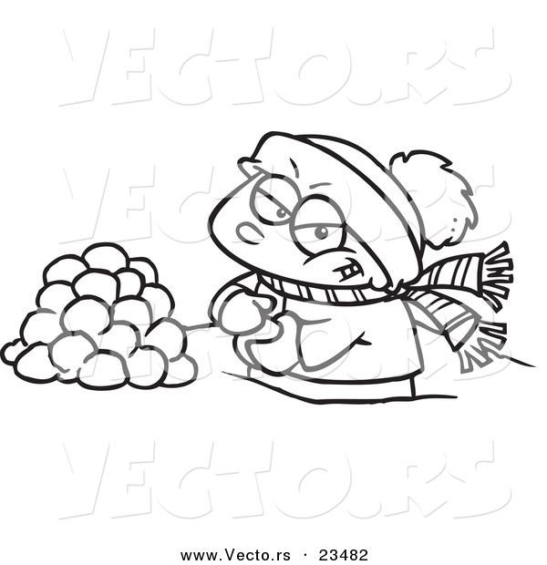 600x620 Cartoon Vector Of Cartoon Boy Making Snowballs For A Fight