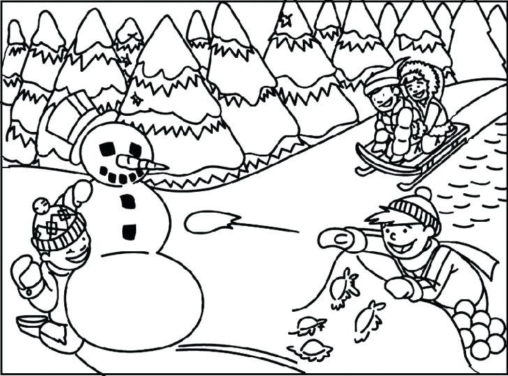 728x539 Coloring Pages Disney Stitch Sledding On Snow Winter Thanksgiving