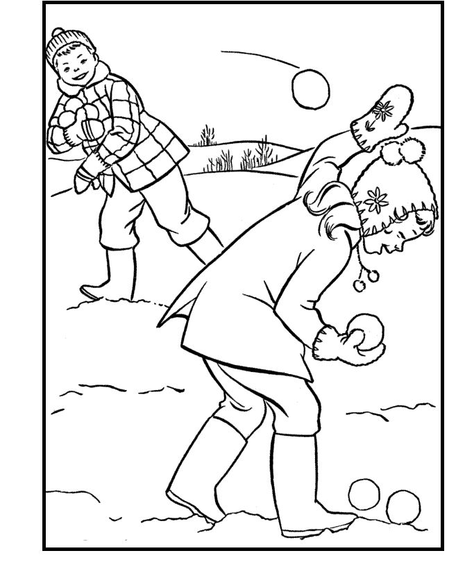 Snowball Fight Coloring Pages