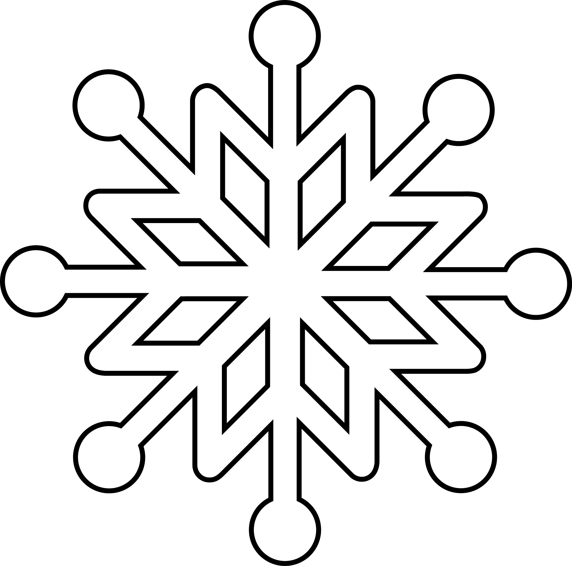 Snowflake Coloring Page at GetDrawings | Free download