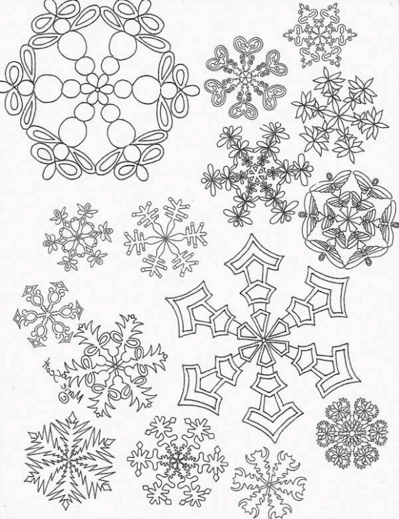 580x755 Printable Snowflake Coloring Picture For Adults Abstract