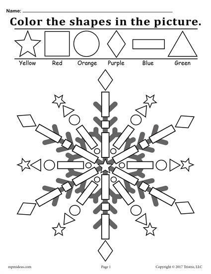 425x550 Free Snowflake Shapes Worksheet Coloring Page! Shapes