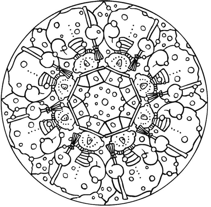 Snowflake Mandala Coloring Pages