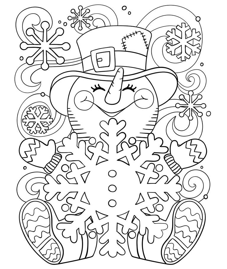 768x912 Happy Little Snowman Coloring Page