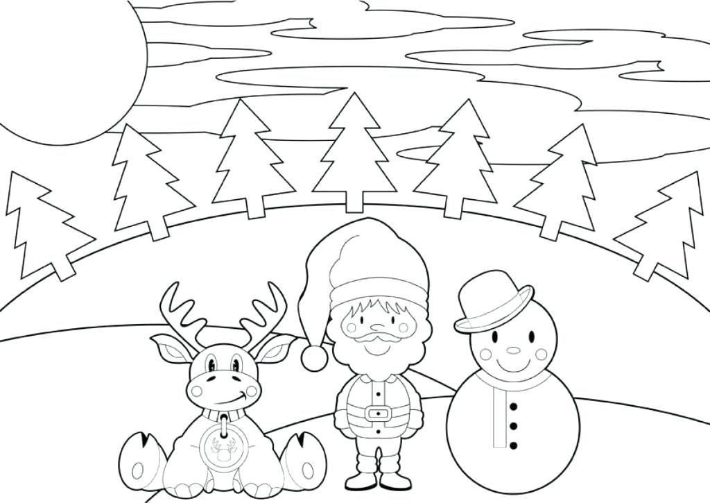 1024x725 Christmas Coloring Pages Snowman Reindeer And Snowman Coloring
