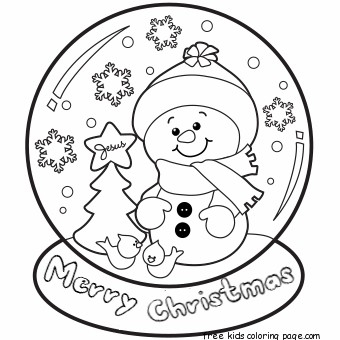 340x340 Christmas Snow Globe Whit Snowman Coloring Pages