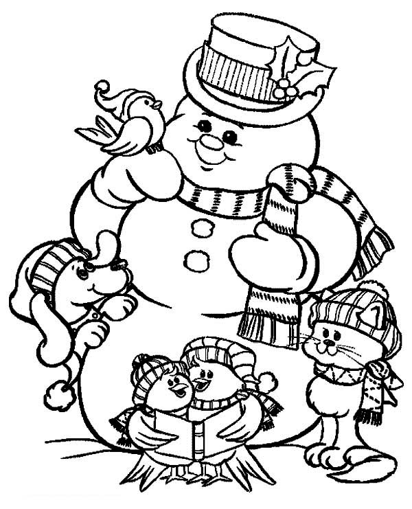 600x741 Christmas Snowman Coloring Pages