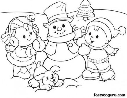438x338 Printabel Coloring Sheet Of Christmas Kids And Snowman