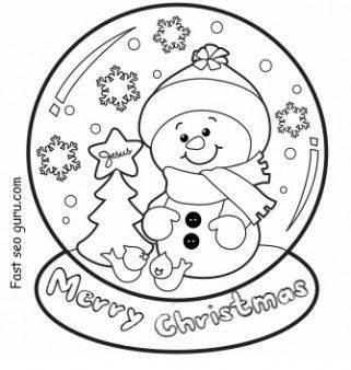 321x338 Christmas Snow Globe Whit Snowman Coloring Pages
