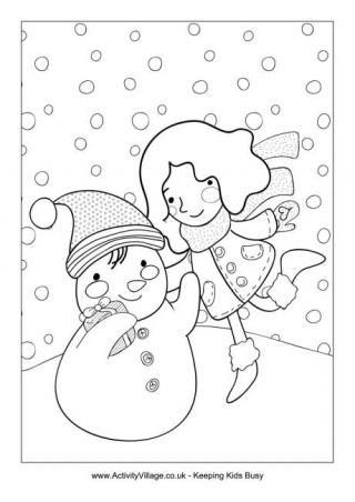 320x452 Snowman Colouring Pages