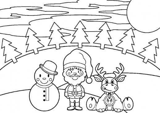 518x366 Snowman Santa And Reindeer Enjoying The Christmas Night Coloring