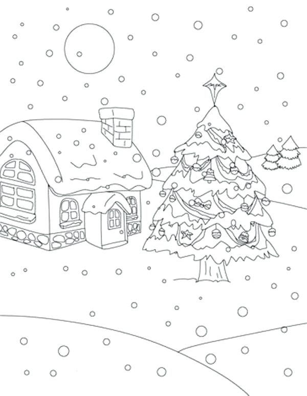 600x774 Snowmen At Night Coloring Pages Also Tree On Snow At Night