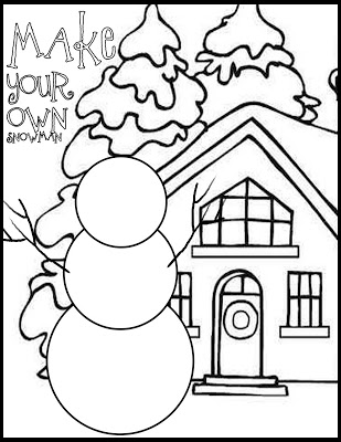 309x400 Draw Your Own Snowman Coloring Page